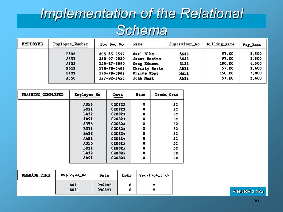 Implementation of the Relational Schema