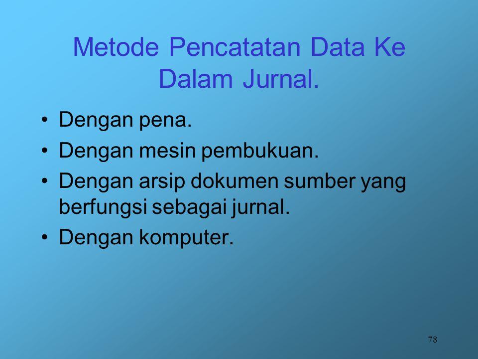 Metode Pencatatan Data Ke Dalam Jurnal.