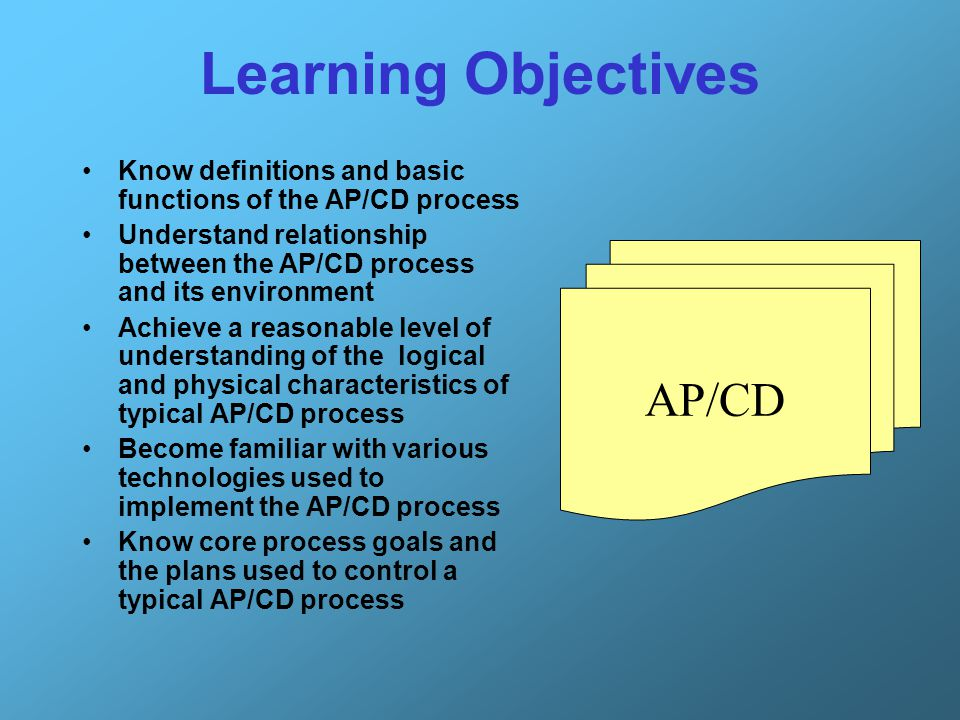 Learning Objectives AP/CD