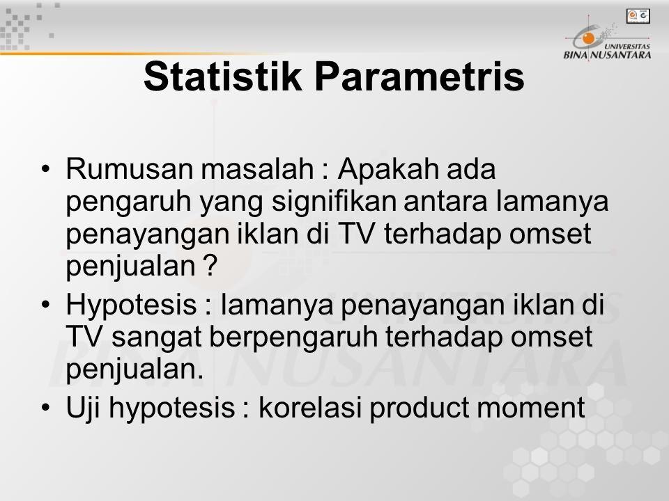 Statistik Parametris Rumusan masalah : Apakah ada pengaruh yang signifikan antara lamanya penayangan iklan di TV terhadap omset penjualan