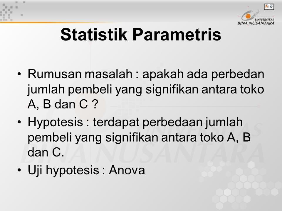 Statistik Parametris Rumusan masalah : apakah ada perbedan jumlah pembeli yang signifikan antara toko A, B dan C