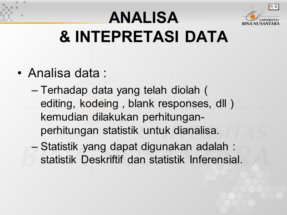 ANALISA & INTEPRETASI DATA