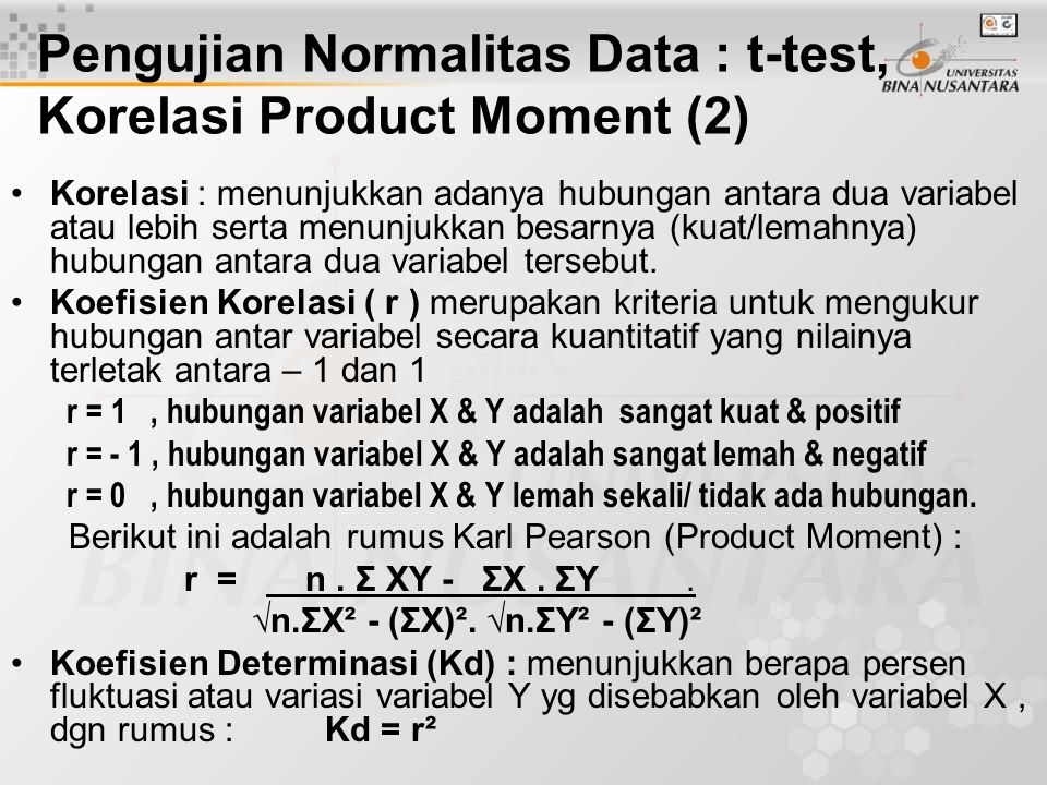 Pengujian Normalitas Data : t-test, Korelasi Product Moment (2)