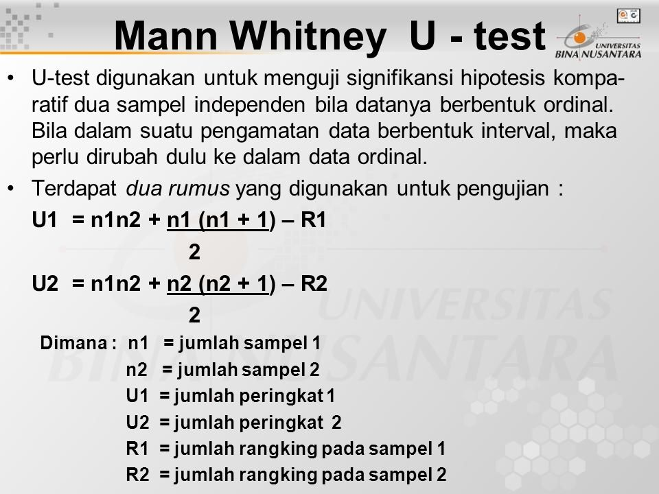 Mann Whitney U - test