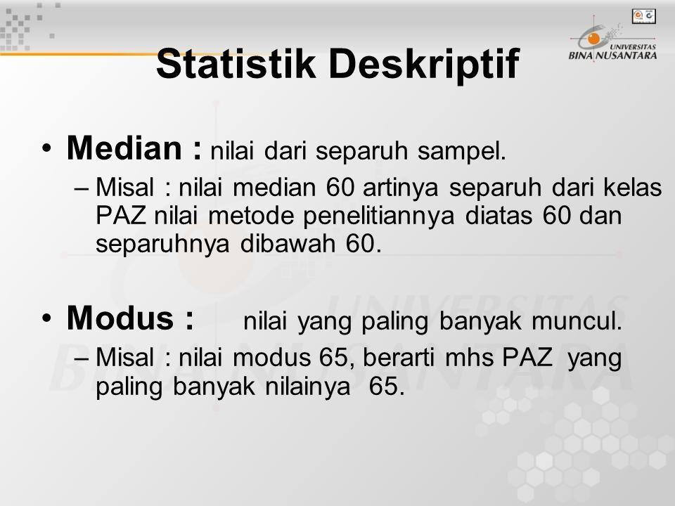 Statistik Deskriptif Median : nilai dari separuh sampel.