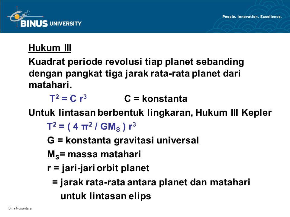 Untuk lintasan berbentuk lingkaran, Hukum III Kepler