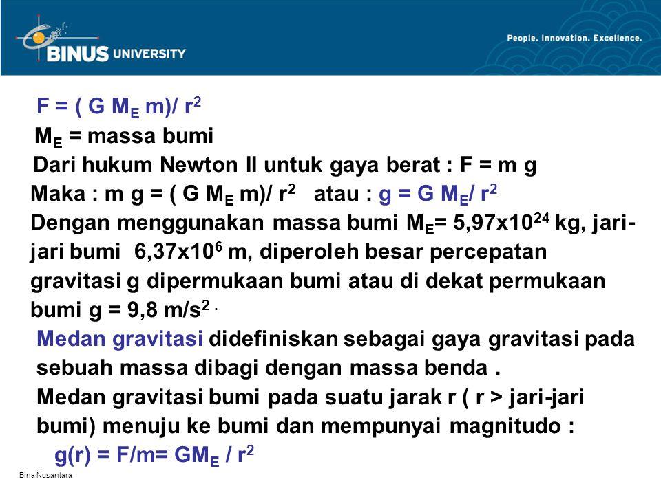 Maka : m g = ( G ME m)/ r2 atau : g = G ME/ r2