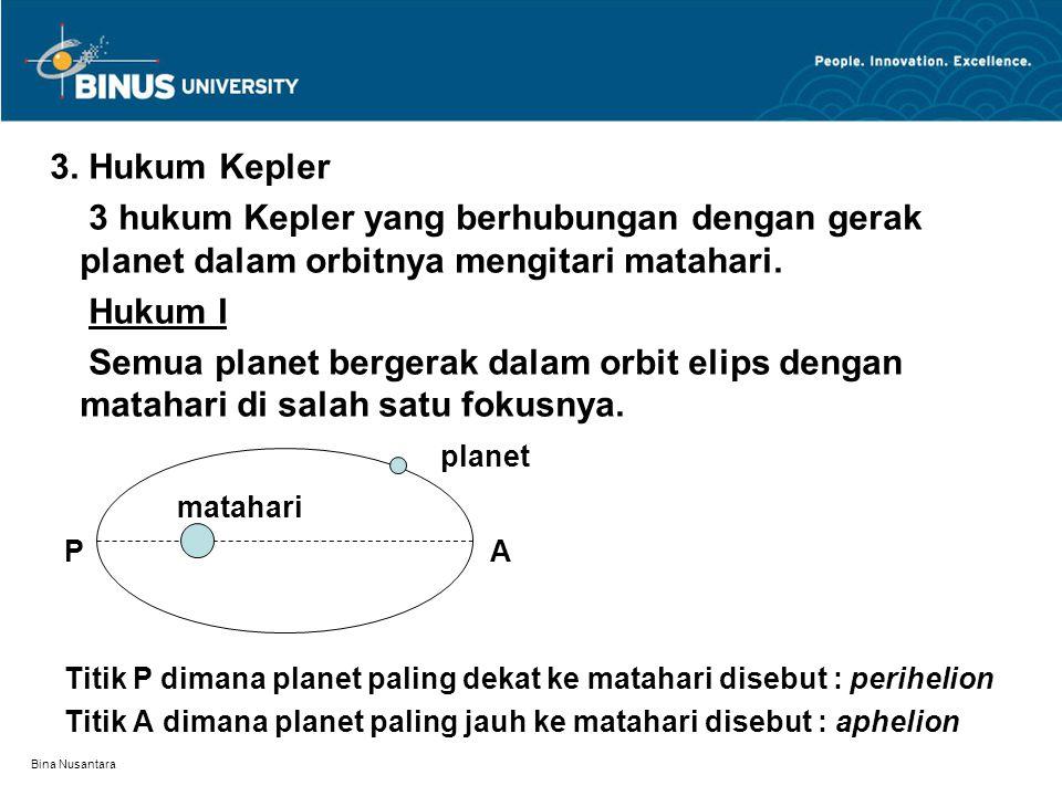 3. Hukum Kepler 3 hukum Kepler yang berhubungan dengan gerak planet dalam orbitnya mengitari matahari.