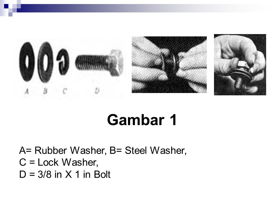 Gambar 1 A= Rubber Washer, B= Steel Washer, C = Lock Washer,