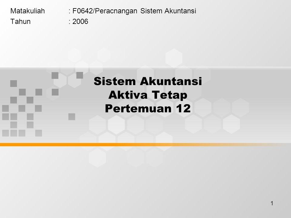 Sistem Akuntansi Aktiva Tetap Pertemuan 12