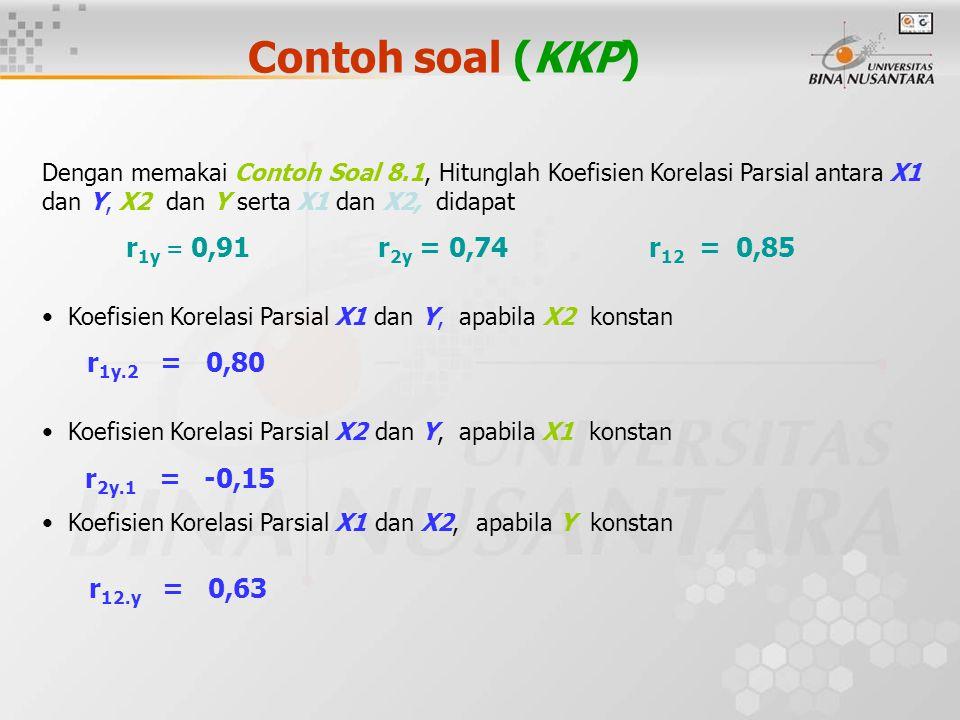 Contoh soal (KKP) Dengan memakai Contoh Soal 8.1, Hitunglah Koefisien Korelasi Parsial antara X1 dan Y, X2 dan Y serta X1 dan X2, didapat.