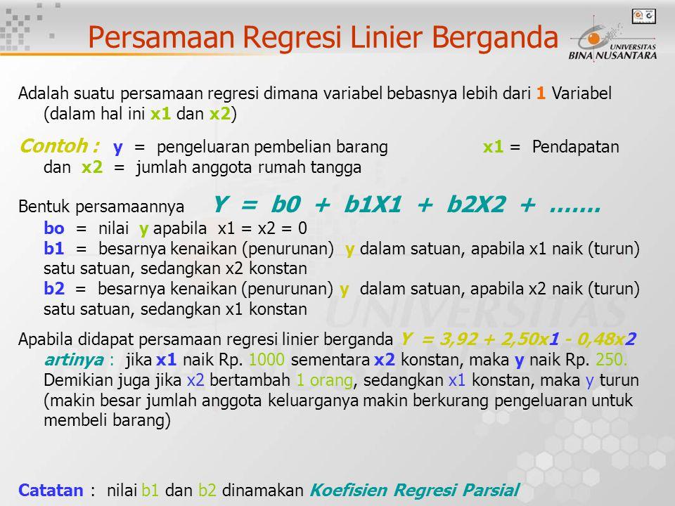 Persamaan Regresi Linier Berganda