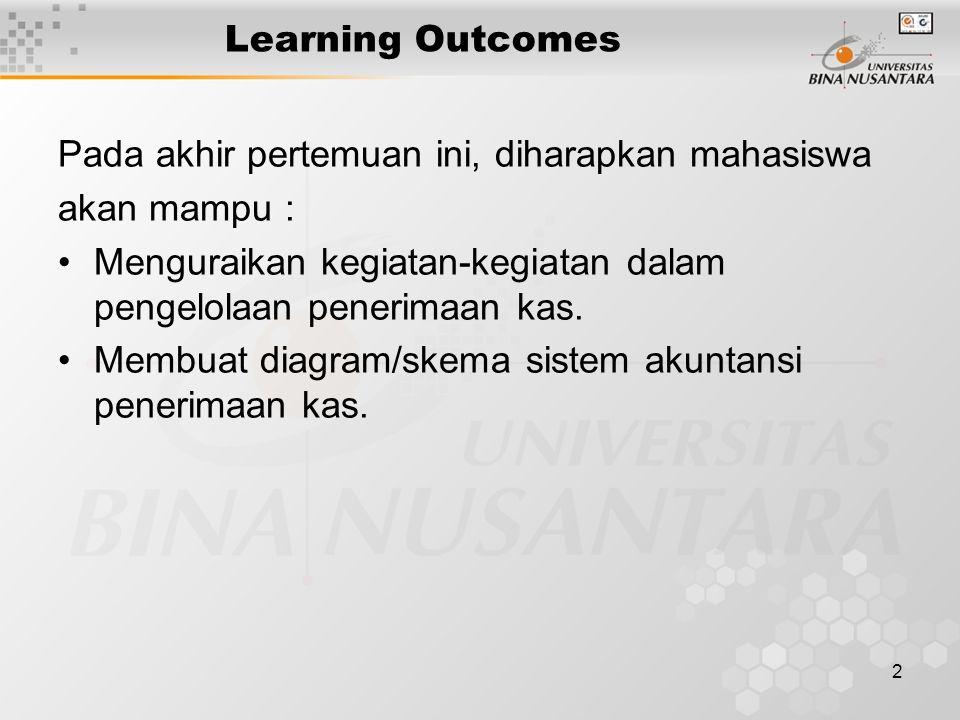 Learning Outcomes Pada akhir pertemuan ini, diharapkan mahasiswa. akan mampu : Menguraikan kegiatan-kegiatan dalam pengelolaan penerimaan kas.