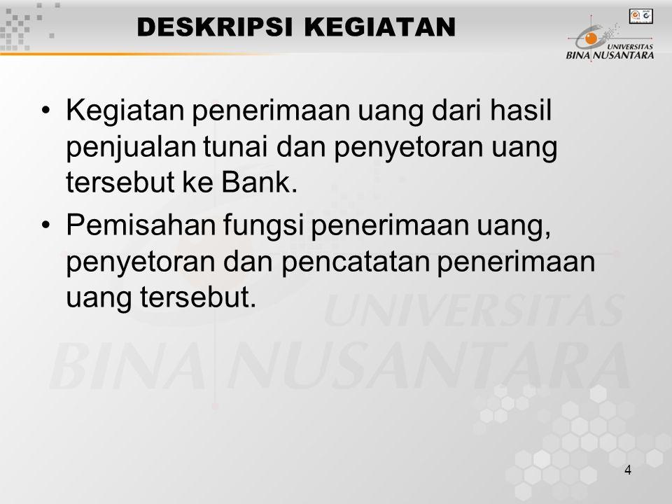 DESKRIPSI KEGIATAN Kegiatan penerimaan uang dari hasil penjualan tunai dan penyetoran uang tersebut ke Bank.