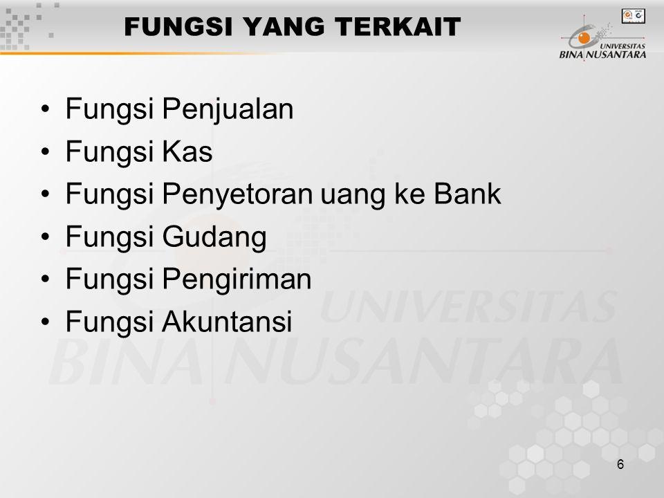 Fungsi Penyetoran uang ke Bank Fungsi Gudang Fungsi Pengiriman