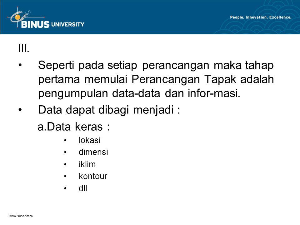 Data dapat dibagi menjadi : a.Data keras :