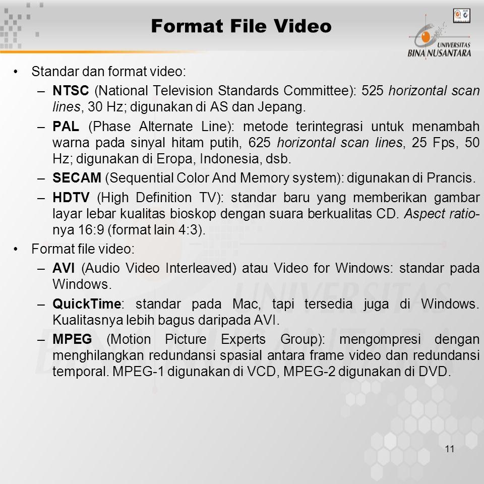 Format File Video Standar dan format video: