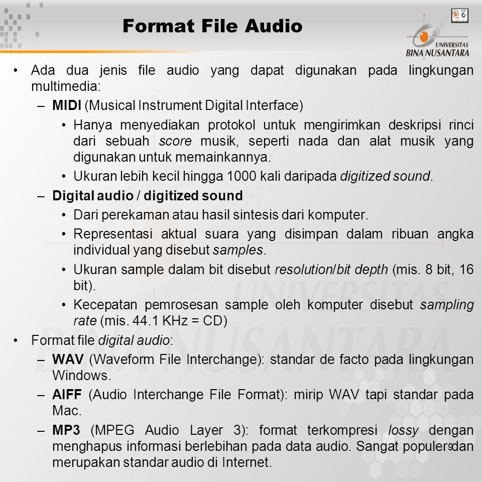 Format File Audio Ada dua jenis file audio yang dapat digunakan pada lingkungan multimedia: MIDI (Musical Instrument Digital Interface)