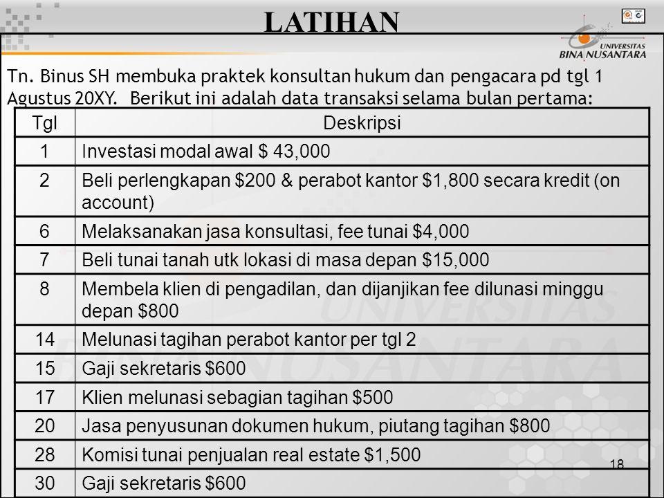 LATIHAN Tn. Binus SH membuka praktek konsultan hukum dan pengacara pd tgl 1 Agustus 20XY. Berikut ini adalah data transaksi selama bulan pertama: