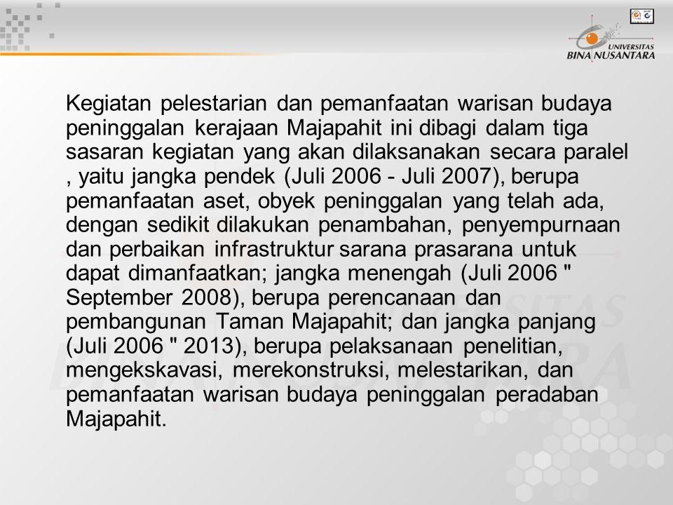 Kegiatan pelestarian dan pemanfaatan warisan budaya peninggalan kerajaan Majapahit ini dibagi dalam tiga sasaran kegiatan yang akan dilaksanakan secara paralel , yaitu jangka pendek (Juli 2006 - Juli 2007), berupa pemanfaatan aset, obyek peninggalan yang telah ada, dengan sedikit dilakukan penambahan, penyempurnaan dan perbaikan infrastruktur sarana prasarana untuk dapat dimanfaatkan; jangka menengah (Juli 2006 September 2008), berupa perencanaan dan pembangunan Taman Majapahit; dan jangka panjang (Juli 2006 2013), berupa pelaksanaan penelitian, mengekskavasi, merekonstruksi, melestarikan, dan pemanfaatan warisan budaya peninggalan peradaban Majapahit.
