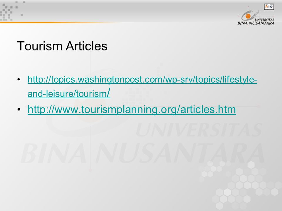 Tourism Articles http://www.tourismplanning.org/articles.htm