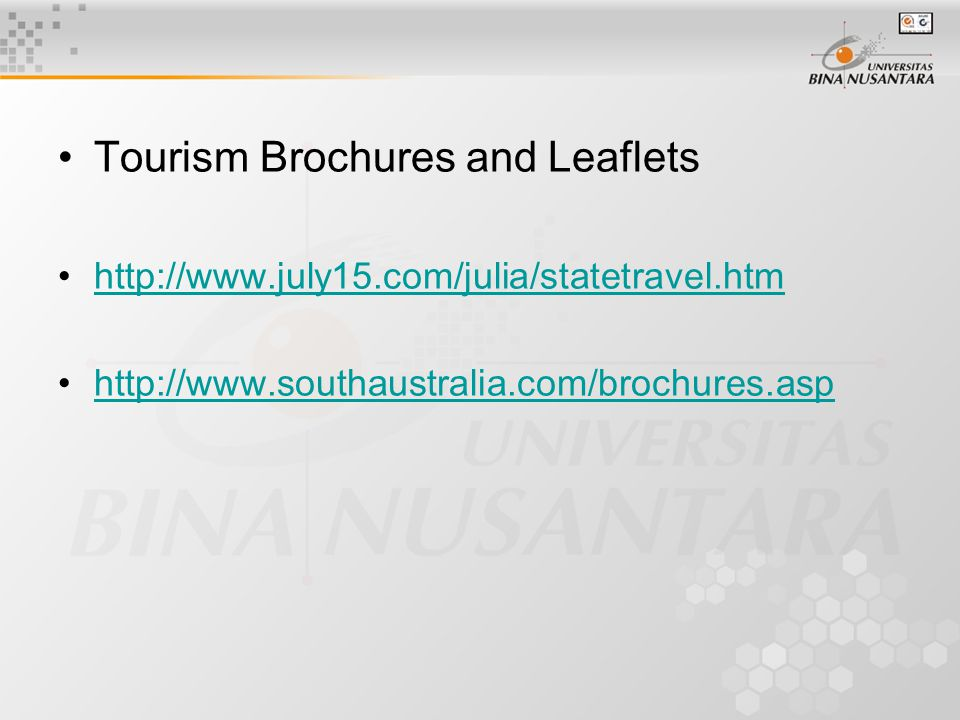 Tourism Brochures and Leaflets