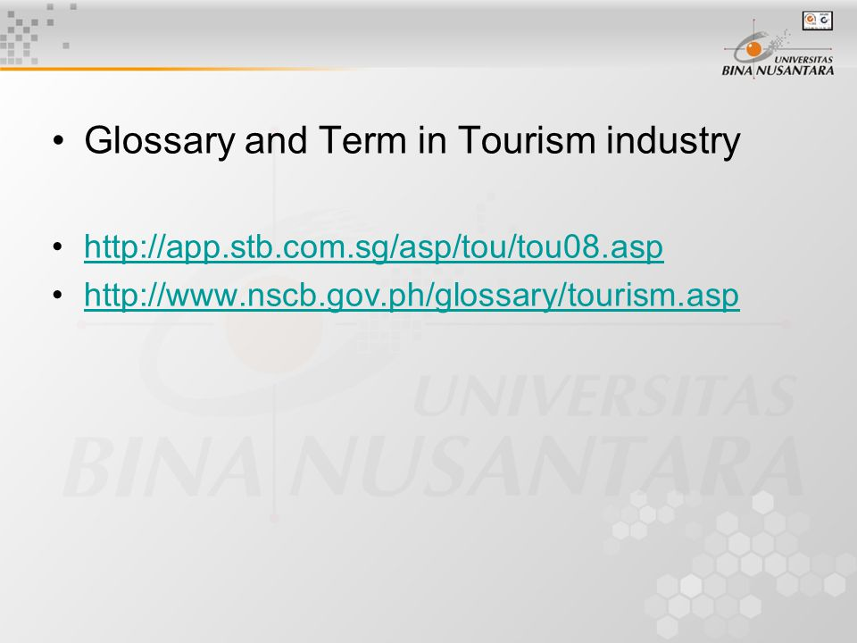 Glossary and Term in Tourism industry