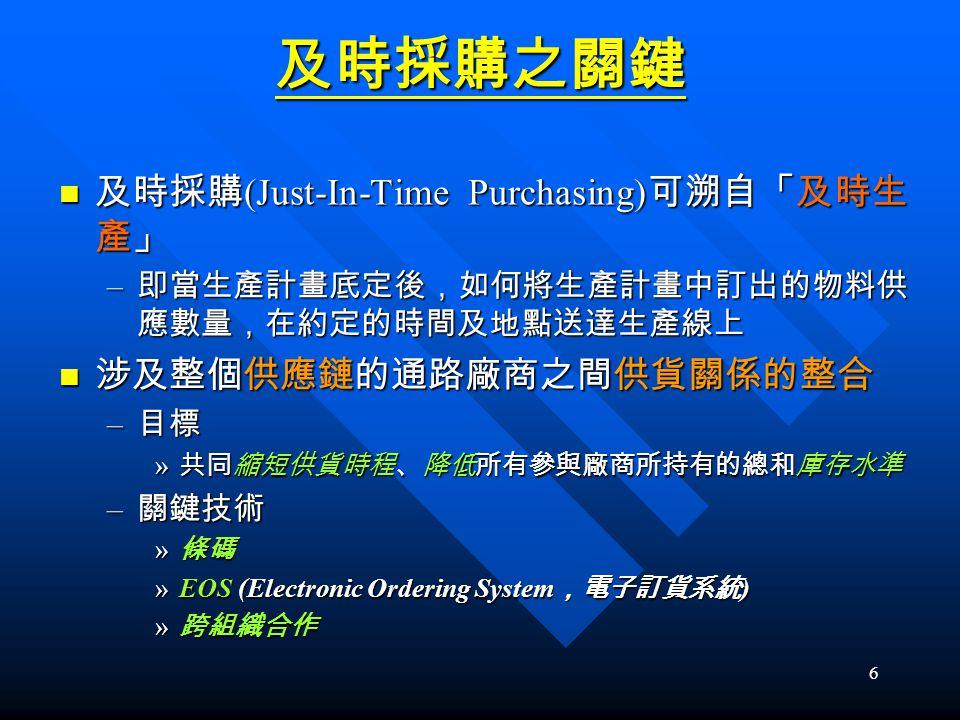 及時採購之關鍵 及時採購(Just-In-Time Purchasing)可溯自「及時生產」 涉及整個供應鏈的通路廠商之間供貨關係的整合