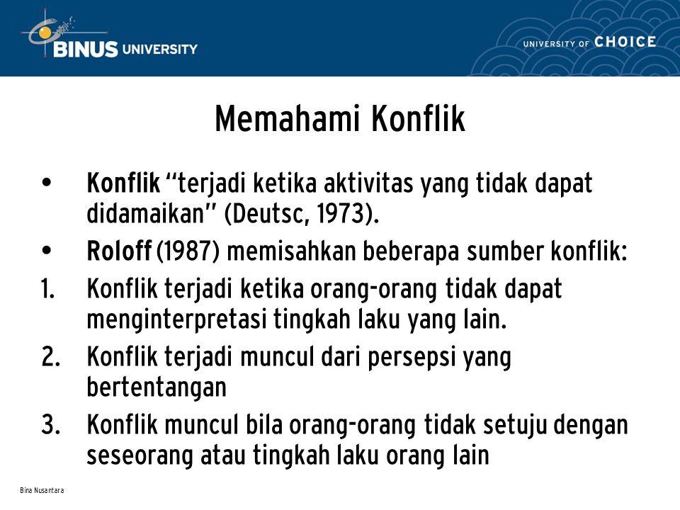 Memahami Konflik Konflik terjadi ketika aktivitas yang tidak dapat didamaikan (Deutsc, 1973). Roloff (1987) memisahkan beberapa sumber konflik: