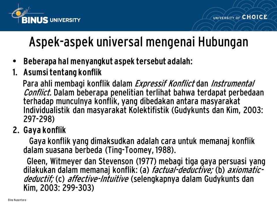 Aspek-aspek universal mengenai Hubungan