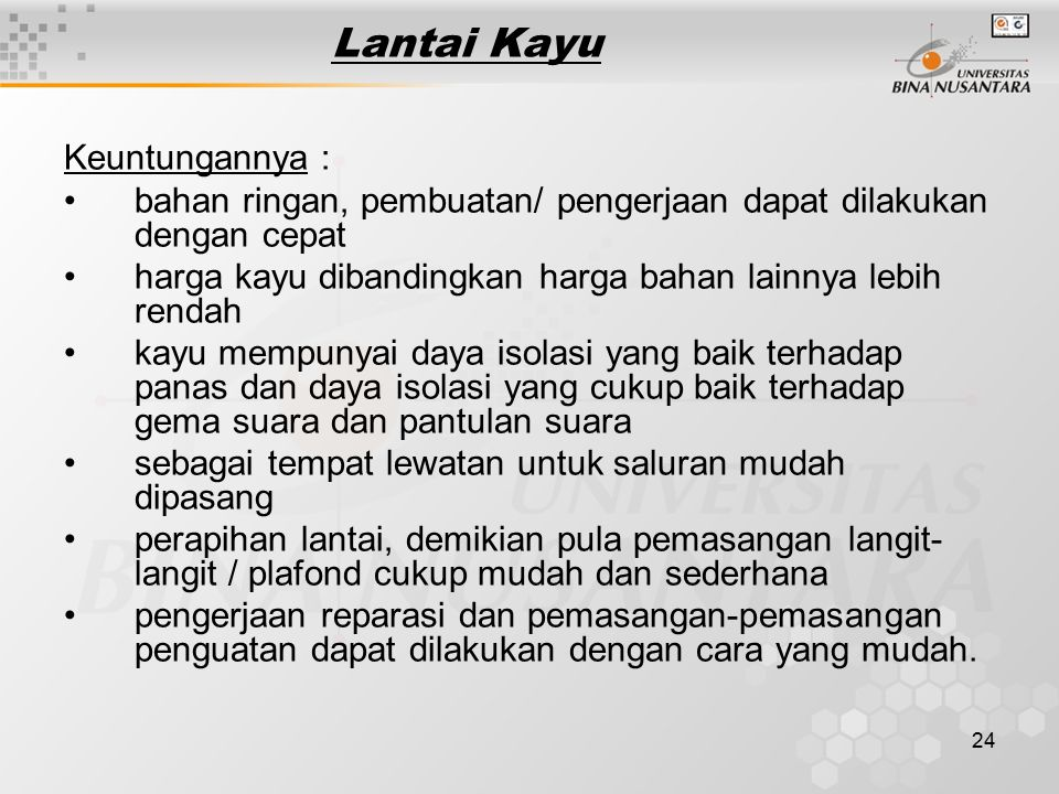 Lantai Kayu Keuntungannya :