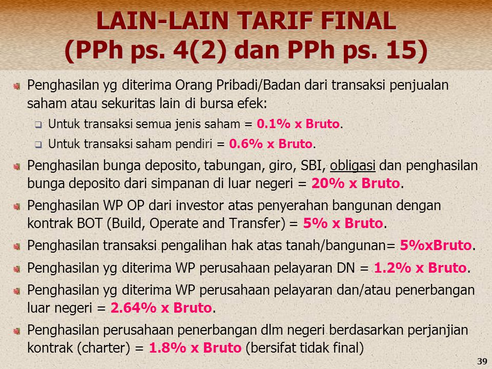 LAIN-LAIN TARIF FINAL (PPh ps. 4(2) dan PPh ps. 15)
