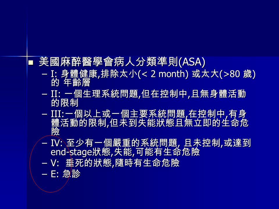 美國麻醉醫學會病人分類準則(ASA) I: 身體健康,排除太小(< 2 month) 或太大(>80 歲)的 年齡層