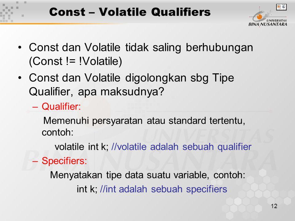 Const – Volatile Qualifiers