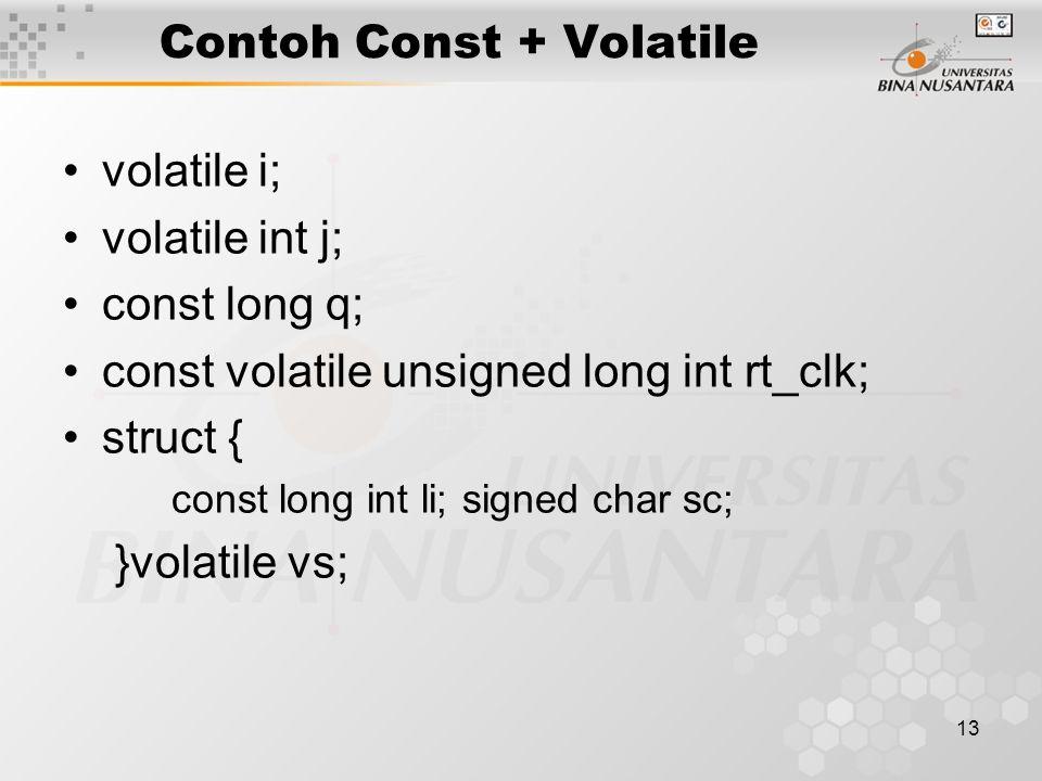 Contoh Const + Volatile
