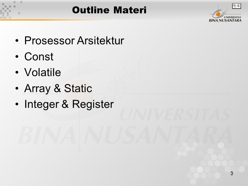 Prosessor Arsitektur Const Volatile Array & Static Integer & Register