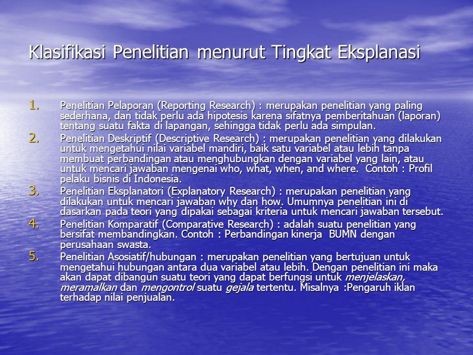 Klasifikasi Penelitian menurut Tingkat Eksplanasi