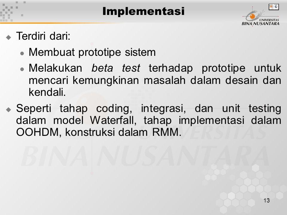 Implementasi Terdiri dari: Membuat prototipe sistem.