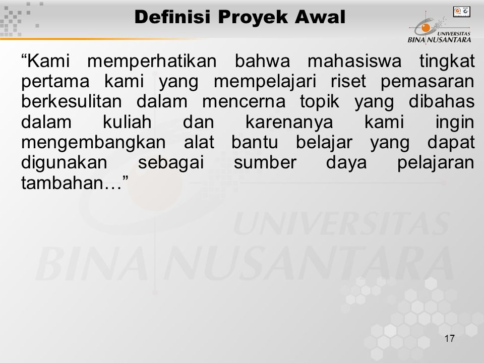 Definisi Proyek Awal