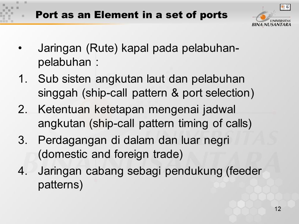 Port as an Element in a set of ports