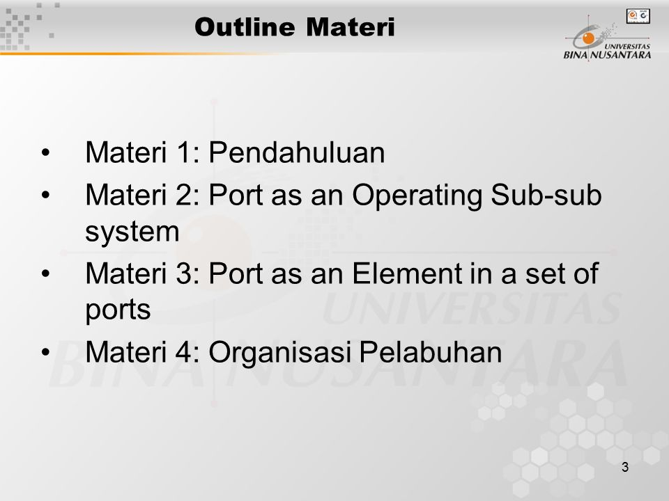 Materi 2: Port as an Operating Sub-sub system