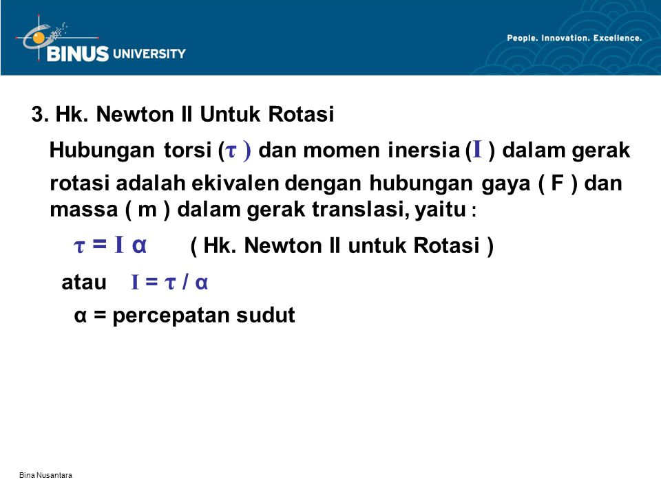 3. Hk. Newton II Untuk Rotasi