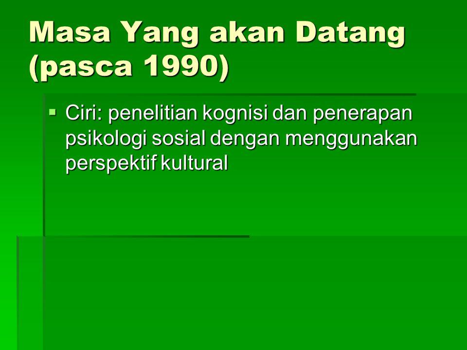 Masa Yang akan Datang (pasca 1990)