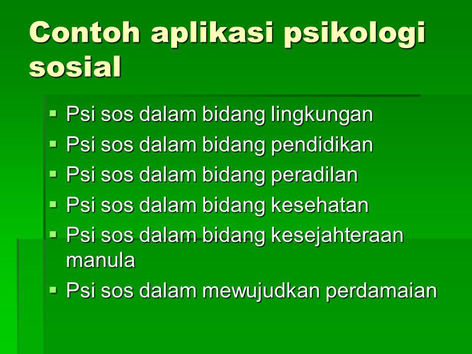 Contoh aplikasi psikologi sosial