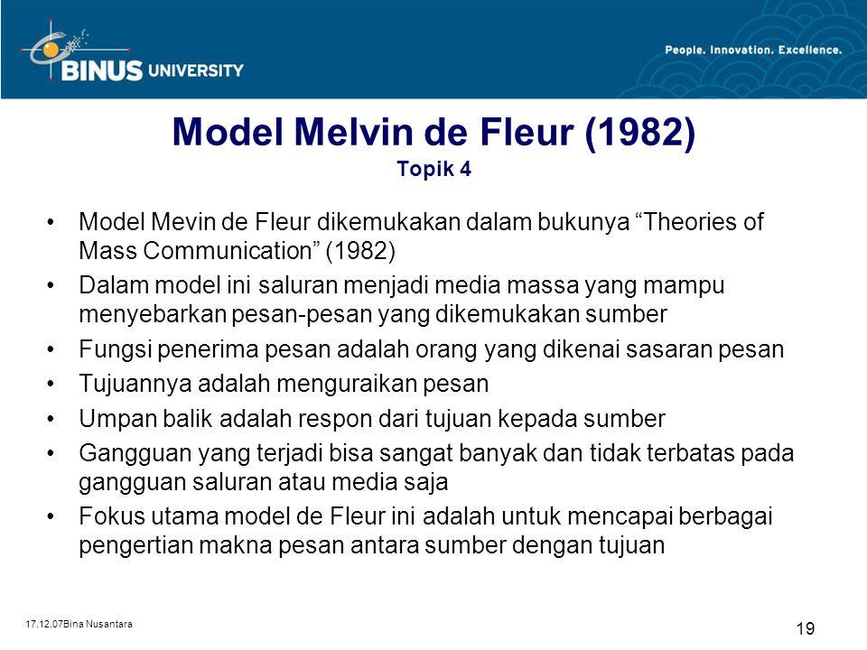Model Melvin de Fleur (1982) Topik 4
