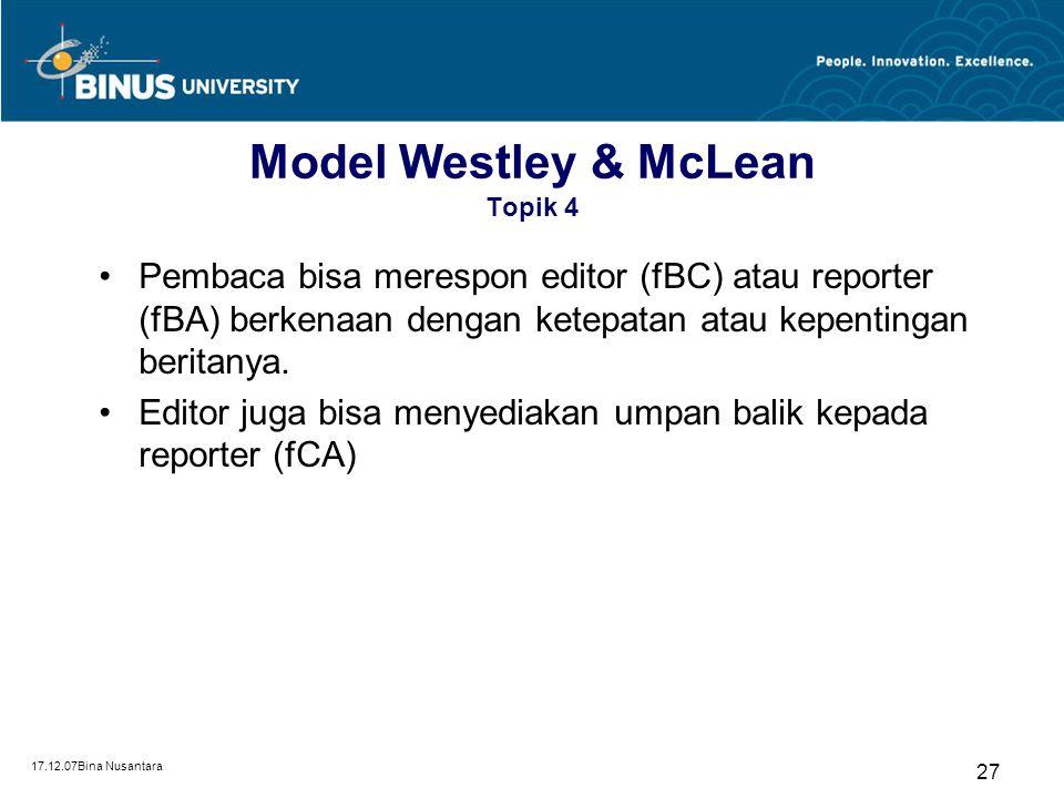 Model Westley & McLean Topik 4