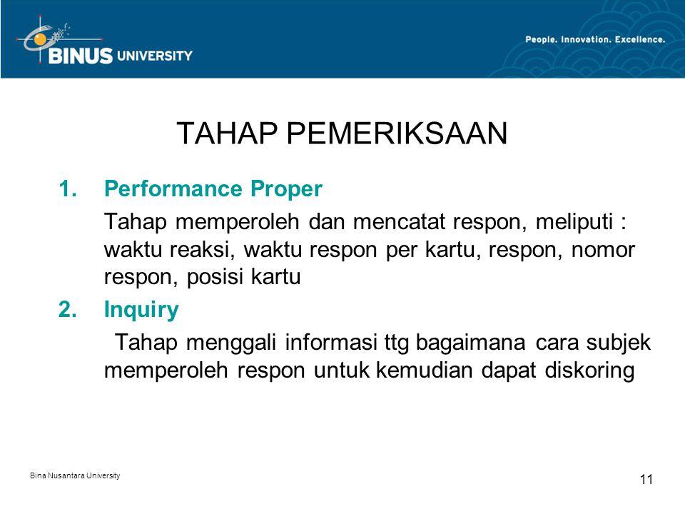 TAHAP PEMERIKSAAN Performance Proper