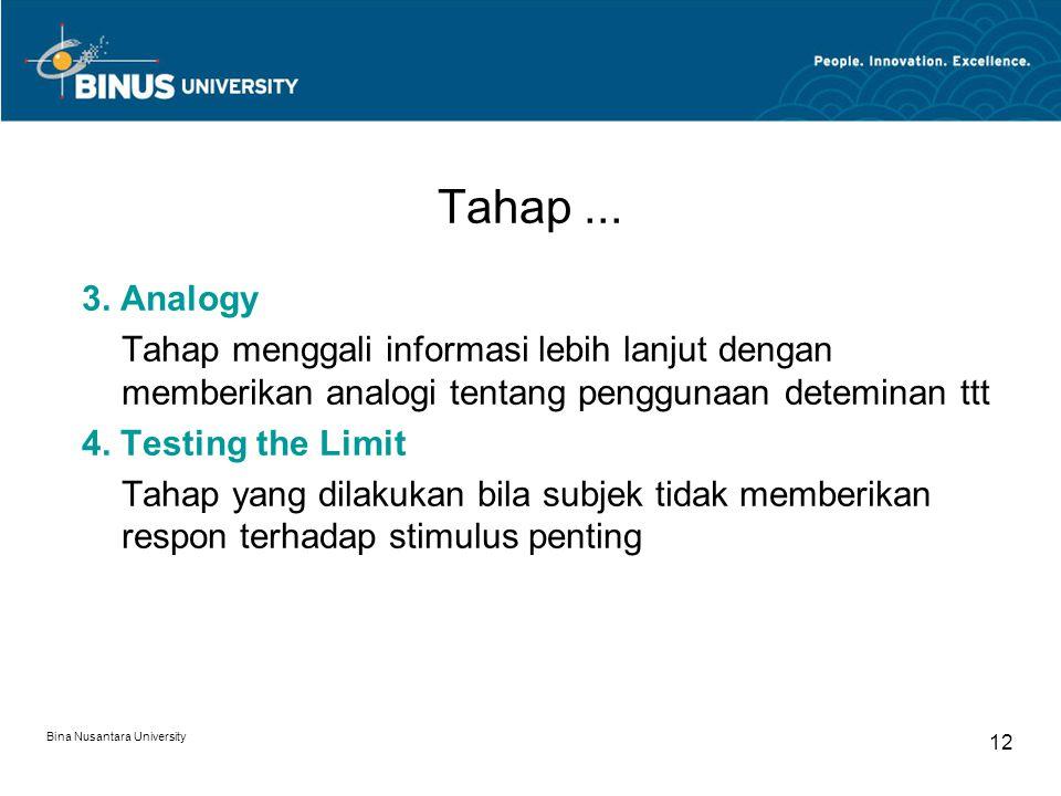 Tahap ... 3. Analogy. Tahap menggali informasi lebih lanjut dengan memberikan analogi tentang penggunaan deteminan ttt.