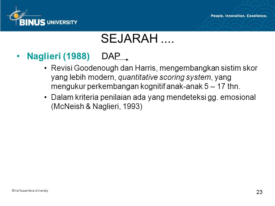 SEJARAH .... Naglieri (1988) DAP