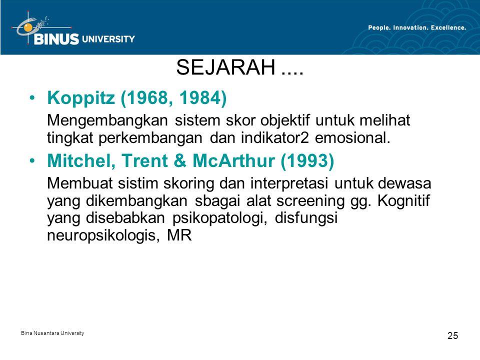 SEJARAH .... Koppitz (1968, 1984) Mitchel, Trent & McArthur (1993)